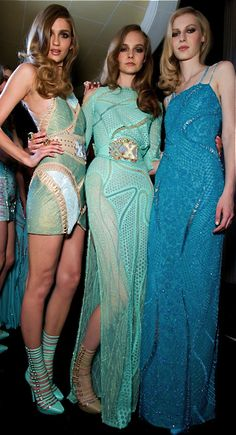 Glamour gowns / karen cox. Versace times three models in blue gowns and dresses!