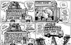 KAL on the euro zone Fight Club, Political Cartoons, Satire, Comic Strips, Line Art, The Outsiders, Bus Driver, Financial Markets, Comics