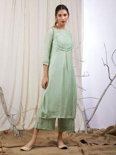 Green Modal Silk Hand Embroidered Kurta with Cotton Lining - Set of 2 Kurti Sleeves Design, Kurta Neck Design, Neck Designs For Suits, Dress Neck Designs, Kurta Designs Women, Salwar Designs, Indian Designer Outfits, Indian Outfits, Kurta With Pants
