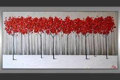 Original Modern Fine Art Texture Red Trees Painting, Gray Black White Abstract Landscape, Ready to hang Unique Home Decor by ZarasShop Contemporary Landscape, Abstract Landscape, Abstract Art, Easy Canvas Painting, Canvas Art, Art Auction Projects, Art Blanc, Round Canvas, Black And White Canvas