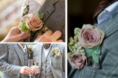 dusky pink roses groom button holes gay wedding. gorge color combo!!! like seriously