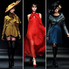Per John Galliano Fall 2012  Trends: Ruffled poet collars, accordion pleat dresses, cropped riding pants, sheer and fur details.  Colors: Black, royal blue, red, mustard, cinnamon, soft gray.  Key Look: The sexy red riding hood: a black onesie with thigh-high stockings, topped with a red silk cape.  Accessories: Thigh-high stockings, stately feathered chapeaus, lace-up booties, suede and leather gloves.  Who Would Wear It: English sophisticates with a taste for ladylike glamour
