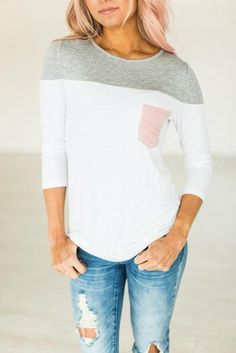 Contrasting Colors Tee - Pink Pocket | Shop the look #Fashion #style #longsleeve #ad
