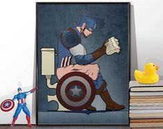 Spiderman Comic book Superhero on the Toilet Humour Poster Wall Art Hanging Print Home Décor The Avengers, Aquaman, Thor, Hulk, Deadpool, Superhero Bathroom, Spiderman Comic Books, Funny Bathroom Art, Cartoon Wall