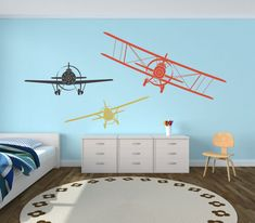 Vintage Planes Airplane Wall Decals, Set of Three Planes, Biplane and Single Wing Airplanes, Airplane Decor, Airpla - Item Boys Airplane Bedroom, Airplane Decor, Airplane Nursery, Toddler Rooms, Baby Boy Rooms, Boys Room Decor, Bedroom Themes, Bedroom Designs, Wall Decals