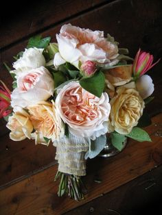 Soft romantic bouquet with garden roses and lace
