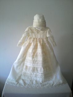Splendid: christening gown with bonnet made in silk organdie with marvelous spanish bobbin laces by ExquisiteDesignRS in DaWanda.com