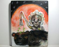 folk art painting whimsical bear by thesecrethermit,
