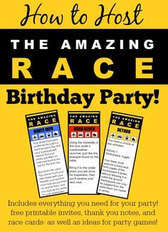 "How to Host an ""Amazing Race"" Birthday Party at Home! Fantastic ideas for hosting an Amazing Race birthday party at home! This post includes free printable amazing race party invitations, amazing race game clues, and amazing race thank you notes! Birthday Party At Home, 13th Birthday Parties, Birthday Party Games, Teen Birthday, Slumber Parties, Birthday Ideas, 11th Birthday, Party Party, Sleepover Party"