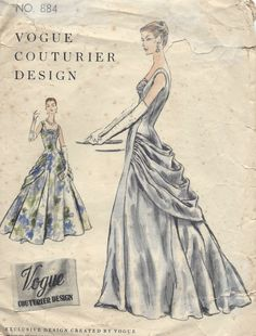 1955 Vintage VOGUE Sewing Pattern B32 DRESS EVENING GOWN (1151) #Vogue