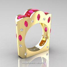 French 14K Yellow Gold Three Stone Round and Marquise Pink Sapphire Diamond Wedding Ring R733-14KYGDPS | ArtMastersJewelry