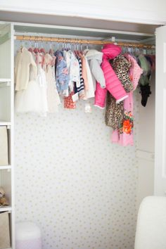 Home // Kids' Closet Makeovers & Tips for Installing Removable Wallpaper - Lauren McBride Kid Closet, Closet Space, Closet Makeovers, White Brick Walls, Diy Wallpaper, Upstairs Bathrooms, Finding A House, Closet Doors, Kids Bedroom