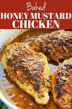 Baked Honey Mustard Chicken - the best recipe for baked chicken breast with honey mustard sauce. Seasoning chicken and searing it before baking creates the incredibly rich flavor in this dish. #chicken #dinner #cooking
