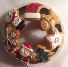 Yankee Candle Illuma Lid Christmas Gingerbread Santa Jar Topper Accessory NWOT #YankeeCandle