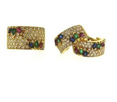 18k Gold Diamond Ruby Emerald Sapphire Ring Earrings Set Featured in our upcoming auction on November 3!