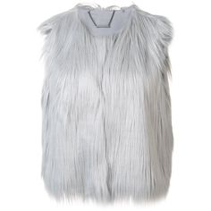 Elie Tahari furred effect cropped gilet ($300) ❤ liked on Polyvore featuring outerwear, vests, grey, crop vest, elie tahari vest, gray fur vest, grey vest and fur vests
