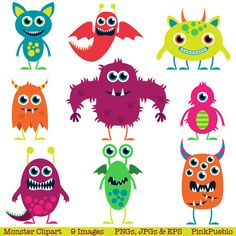 Cute Monsters Clip Art Clipart Aliens Clip Art Clipart - Commercial and Personal. $6.00, via Etsy.
