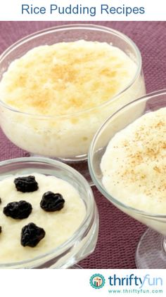 This page contains rice pudding recipes. Sweet, creamy rice pudding is delicious dessert that is easy to make. The first recipe calls for leftover rice. Rice Pudding Recipes, Creamy Rice Pudding, Pudding Desserts, Dessert Recipes, Rice Puddings, Pudding Ideas, Rice Recipes, Recipies, Just Desserts