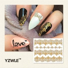YZWLE 1 Sheet DIY Hot Gold 3D Decal Nail Art Stickers Decorations Tool For Manicure Salon (YZW-6015)
