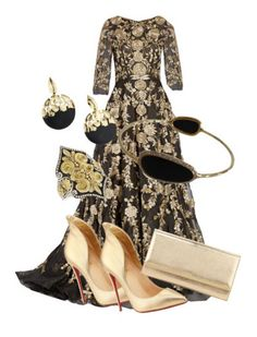 """Black Tie Look"" by littlehouse21 ❤ liked on Polyvore featuring Marchesa, Christian Louboutin, Jimmy Choo, Alexis Bittar, Konstantino and Ippolita"