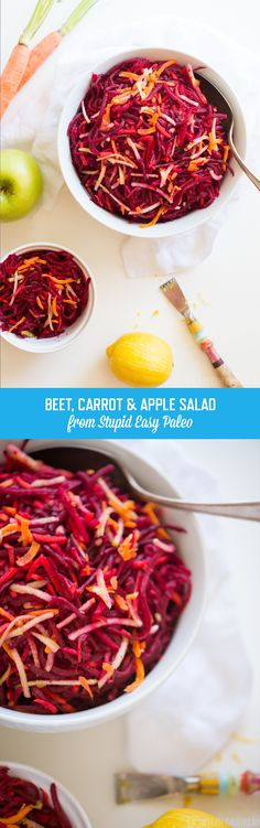 Beet, Carrot & Apple Salad | StupidEasyPaleo.com. A healthy a colorful salad that perfect for any time of day! All clean eating ingredients are used for this healthy beet recipe. Pin now for later!