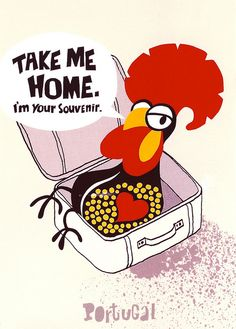 Take Me Home. I'm Your Souvenir. Portugal Galo de Barcelos - Barcelos Rooster postmarked in 2012 with a Portugal Circus stamp signed on the back by 19 members at a Postcrossing meet-up Portugal, Take Me Home, Take My, Vintage Posters, Vintage Art, Sea Activities, Travel Ads, Western World, Travel Illustration