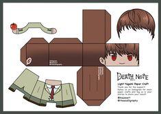 Paper Toys, Paper Crafts, Figurine Anime, Paper Doll Template, Death Note Light, Bullet Journal Banner, Light Yagami, Anime Crafts, Japon Illustration