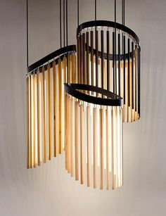 Lamps and Lighting – Home Decor : Stickbulb's wooden bulbs of varied lengths were designed as a modular system and intended to be customized, producing designs like this Chime Chandelier -Read More – Pendant Lamp, Pendant Lighting, House Lighting, Ceiling Lamp, Ceiling Lights, Blitz Design, Suspended Lighting, Light Decorations, Lighting Design