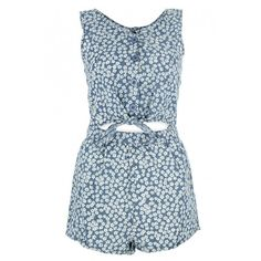 Blue Daisy Print Playsuit (37 AUD) ❤ liked on Polyvore featuring jumpsuits, rompers, dresses, playsuits, jumpsuit, blue rompers, blue romper, blue jumpsuit, daisy romper and jump suit
