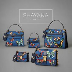 Valentino Garavani B-Rockstud and My Rockstud Bags in Denim Fabric with Multicolored Butterfly Embroidery and Gold-tone Hardware | Fall 2016 Collection | Available Now For purchase inquiries, please contact sales@shayyaka.com or +961 71 594 777 (SMS, WhatsApp, or iMessage) or Direct Message on Instagram (@Shayyaka). Guaranteed 100% Authentic | Worldwide Shipping | Bank Transfer or Credit Card