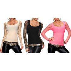 jowiha® Stylisches Club Damen Top mit Ärmeln aus Netz Tops, Polyvore, Shirts, Fashion, Mesh, Moda, Fashion Styles, Dress Shirts, Fashion Illustrations