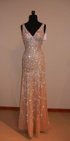 House Of Legion Crystal Nude Pageant Evening Dress #ShopSimple