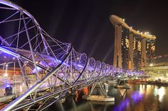 The DNA bridge that leads you from the Youth Olympic Park to the Shoppes at Marina Bay. A good path to take before or after catching a show at the theatre