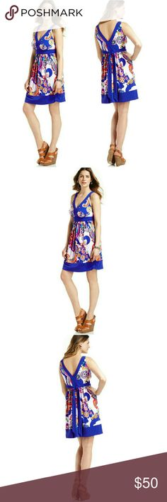 New! ECI Bold Paisley Dress Stretch Jersey V-Neck A vivid paisley print brightens up this sleek stretch jersey dress from ECI. Bold pops of color and a flattering tie waist mean it's bound to attract attention.   * Brand New With Tags  * Allover paisley p