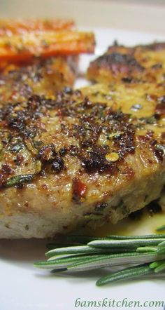 Rosemary herbed pork chops with shallot wine sauce  good sauce, ill make it again some day