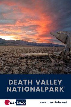 Im Sommer können die Temperaturen im Death Valley Nationalpark, dem Tal des Todes, über 50 Grad Celsius klettern. Der Nationalpark in der nördlichen Mojave-Wüste gehört zu den trockensten Gebieten der Erde. Daher wurden dort verschiedene berühmte Filme wie Star Wars gedreht. Mit 282 Metern unter dem Meeresspiegel ist das Badwater-Becken der niedrigste Punkt Nordamerikas. Die Wandernden Felsen sind ein Naturphänomen. #usainfo #aboutusa #deathvalleynationalpark Nationalparks Usa, Bryce Canyon, Death Valley, Star Wars, Movie Posters, Movies, North America, Rocks, Earth