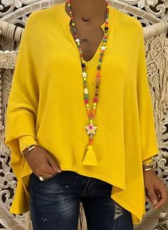 Solid Casual Polyester V-Neckline Long Sleeve Orange Yellow Black Shift Blouses General XL XXL Blouses Vetement Hippie Chic, Mode Top, Plus Size Casual, Batwing Sleeve, Plus Size Blouses, Shirt Blouses, Long Sleeve Shirts, Sweaters, Harajuku