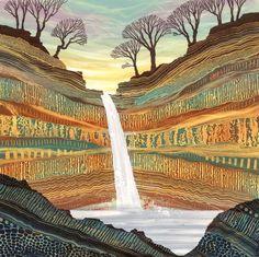 Original tree line landscape monotyp paintings by UK artist Rebecca Vincent. Sold work, prints available to buy online Landscape Art Quilts, Art Plastique, Fabric Art, Painting Techniques, Mixed Media Art, Textile Art, Cool Art, Waterfall, Illustration Art