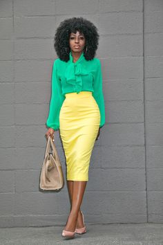 Style Pantry | Green Tie Front Blouse + Yellow Pencil Skirt