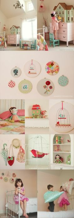So many cute ideas, embroidery hoop art, love the idea of having the dollhouse on top of low dresser