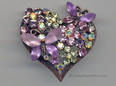 Violet butterflies flowers and hearts for my sweet darling Vylette Jewelry Crafts, Jewelry Art, Vintage Brooches, Vintage Jewelry, Butterfly Jewelry, Purple Jewelry, I Love Heart, Valentine Heart, Valentines