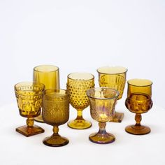 Amber Wine Goblets | Mismatched, Bohemian Tablescape | Birch & Brass Vintage Rentals | Weddings and Corporate Events | Austin, Texas