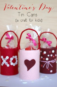 Valentine's Day Tin Cans - Make your own cute little baskets for Valentine's or candy using tin cans, felt, and a pipe cleaner!