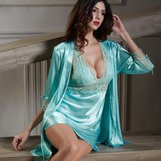 XIFENNI Satin Silk Bathrobes Lace Nightgown 535b26d4e
