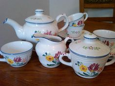 11 Piece Herend Village Pottery Bouquet Tea Set Hand Painted in Hungary | eBay