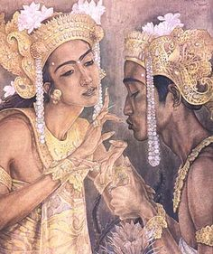 Rudolf Bonnet, Temptation of Arjuna, Oil on canvas, 1953.