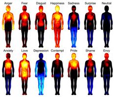 'Body Atlas' shows where emotions hit the hardest (note: not a Flir cam showing actual heat signatures, but rather a rendering of test subjects' indications of feeling high vs. low response in the body. Still freaking cool, though.) via The Verge and PSFK