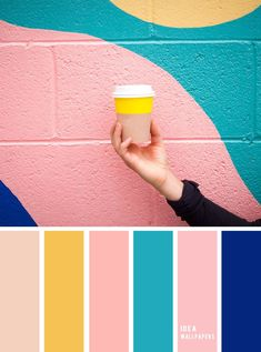 Pink + Teal + Cobalt Blue + Yellow & Taupe } Pink And Teal Colour . Pink + Teal + Cobalt blue + Yellow & Taupe } pink and teal colour blue yellow color combination - Blue Things Yellow Color Combinations, Pink Color Combination, Color Schemes Colour Palettes, Summer Color Palettes, Yellow Color Schemes, Bedroom Color Schemes, Bedroom Colors, Pink Palette, Blue Colour Palette
