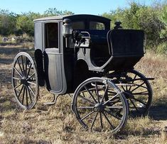 Victorian:  1898 #Victorian Brougham Carriage.  This carriage is a very good fossil in the evolution from carriage to motor vehicle. It encompasses both the older elegance of carriages while coming towards a more minimal design which is seen much more during the popularization of the motor vehicle.