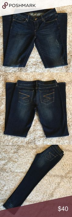 🍁Seven7 dark wash jeans New Seven7 dark wash blue denim jeans with accent distressing. Brand new. Excellent condition. New without tags. Straight leg style. Seven7 Jeans Straight Leg
